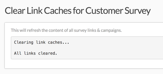 Link Caches Successfully Cleared