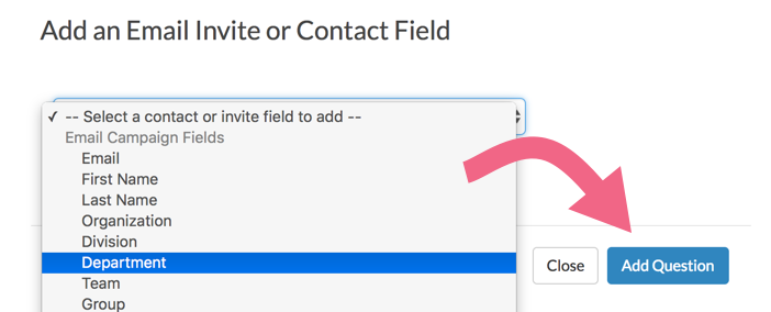 Select a Contact or Invite Field to Add