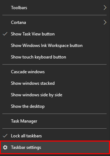 Select Taskbar settings