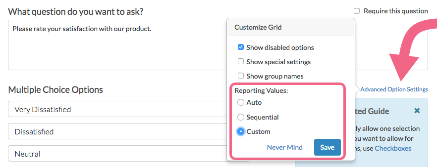 Enable Custom Reporting Values