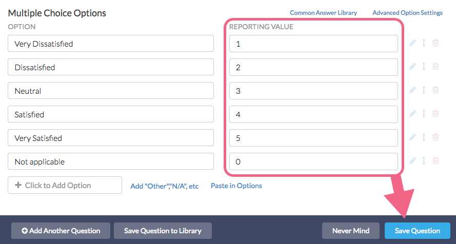 Customize Reporting Values
