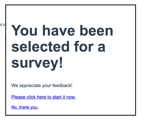 Website Popup Survey: Invitation Example