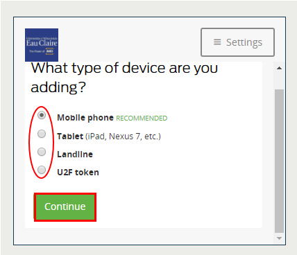 Select device and click Continue