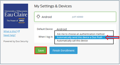 Select authentication method and click save