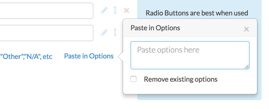 Paste in Options Popup