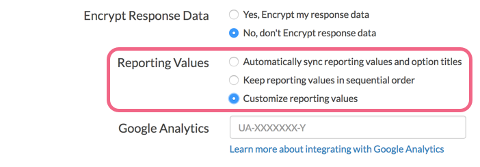 Enable Custom Reporting Values via Survey Settings
