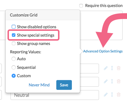 Enable Special Settings
