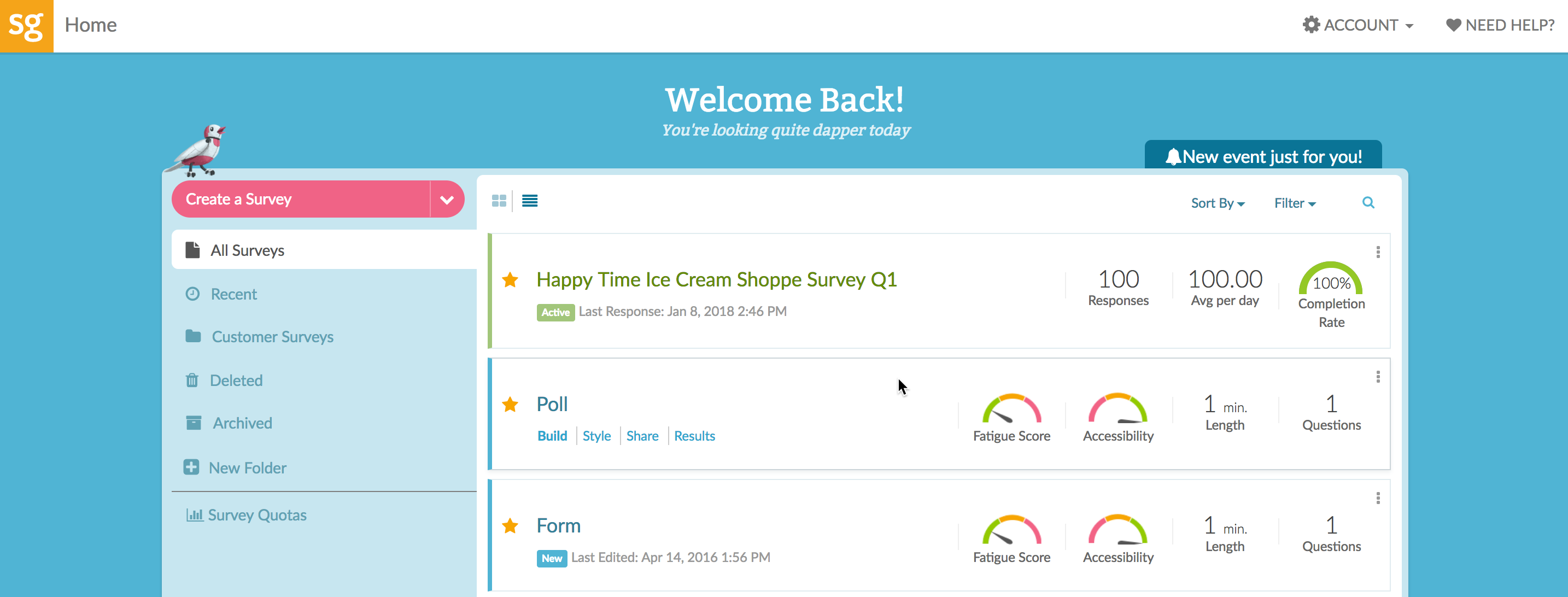 SurveyGizmo Homepage
