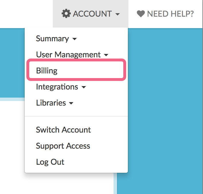 Account > Billing will be accessible to admin users