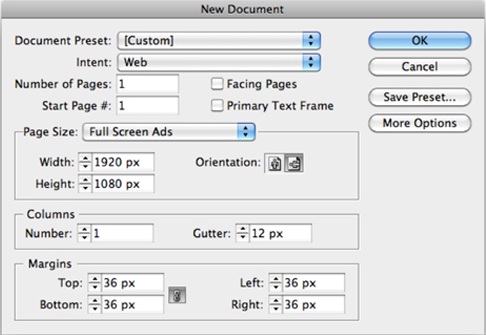 InDesign 16:9 Web