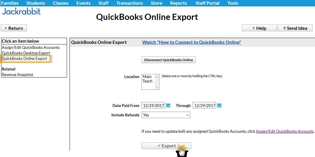Quickbooks online set default report date