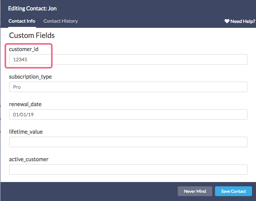 Contact List Custom Field Example