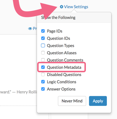 Enable Question Metadata