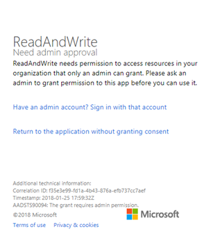Read&Write needs admin approval scree