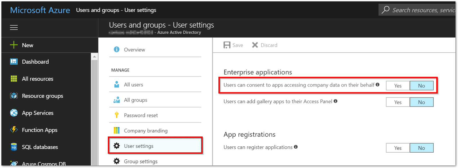 Azure AD Settings page