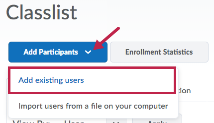 Indicates Add Participants button and Identifies Add existing users selection