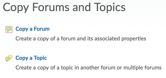 Copy Forums and Topics options screenshot