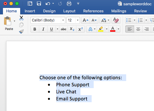 Example Word Document with bulleted list