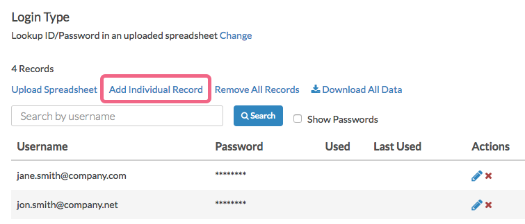 Add an Individual Password Record