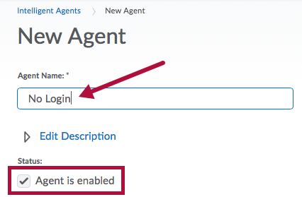 Screenshot of Agent Name and Status options