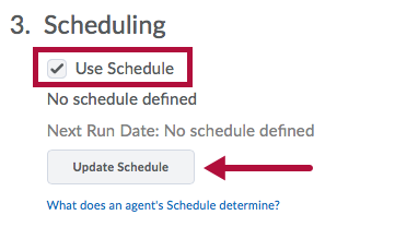 Screenshot of Intelligent Agent Schedule option