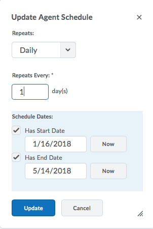 Screenshot of Intelligent Agent Update Agent Schedule options