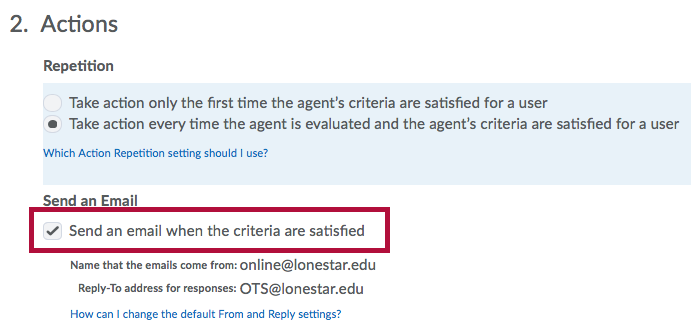 Screenshot of Intelligent Agent Send an Email option