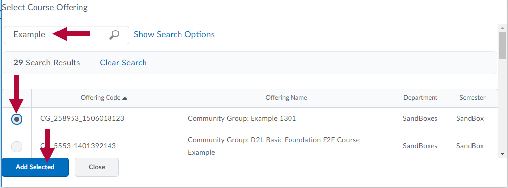 Indicates Search field, Radio Selection button, and Add Selected Course Offering options