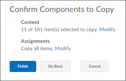 Shows Confirm Components to Copy page