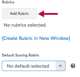 Indicates Add Rubric Button