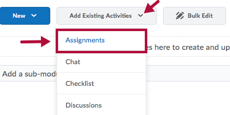 Indicates Add Existing Activities menu and Identifies Assignments