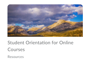 Shows Student Orientation for Online Courses tile