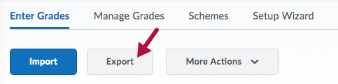 Screenshot of Export option on Enter Grades page