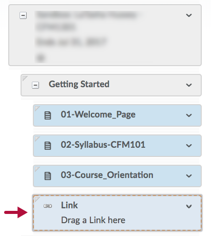 Indicates Link placeholder example in Course Builder