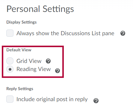 Shows Default View option in Discussion Settings