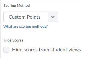 Scoring method dropdown menu.