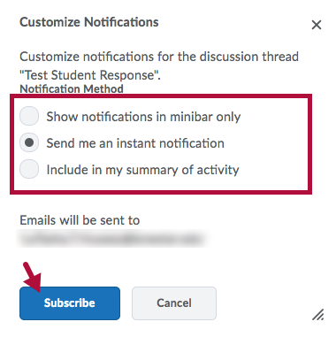 Identifies Notification method options for forums and topics and Indicates Subscribe Button