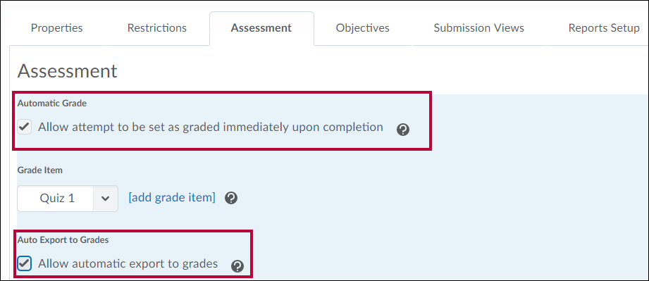 Identifies automatic grading settings of Assessment tab in Edit Quiz menu.