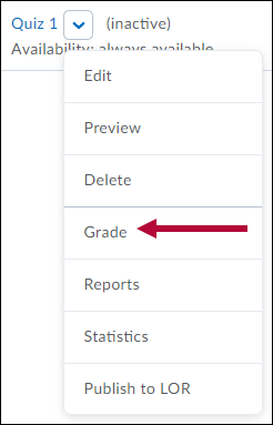 Quiz dropdown menu with Grade indicated.
