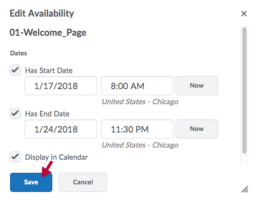 Edit Availability options