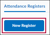 Attendance Registers page with New Register selected.