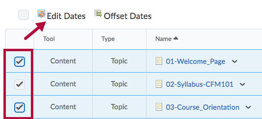 Select option for Editing Dates