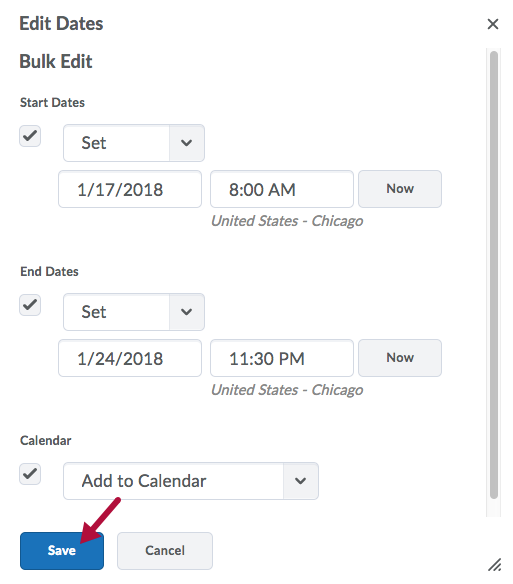 Bulk Edit in Edit Dates window