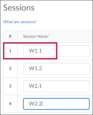 Sessions fields with weekly session names identified.