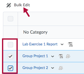 Indicates Bulk Edit option and Identifies check boxes