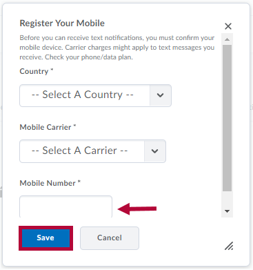 Identifies Save button and Indicates Mobile Number field