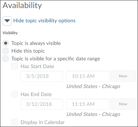 Topic availability options