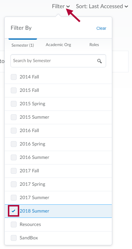 Indicates Filter by Semester selector and identifies a selected check box.