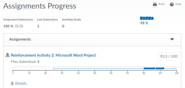 Shows the Assignments Progress Report.
