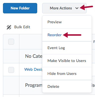Reorder options on More Actions menu
